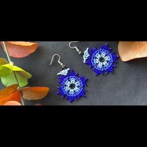Huichol Earrings Blue Mexican Handmade